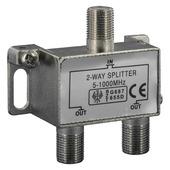 Q-link coax splitter met 2 uitgangen incl. 3 F-connectoren
