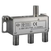 Q-link coax splitter met 3 uitgangen incl. 4 F-connectoren