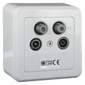 Q-link coax stopcontact TV/FM en 2x satelliet opbouw wit