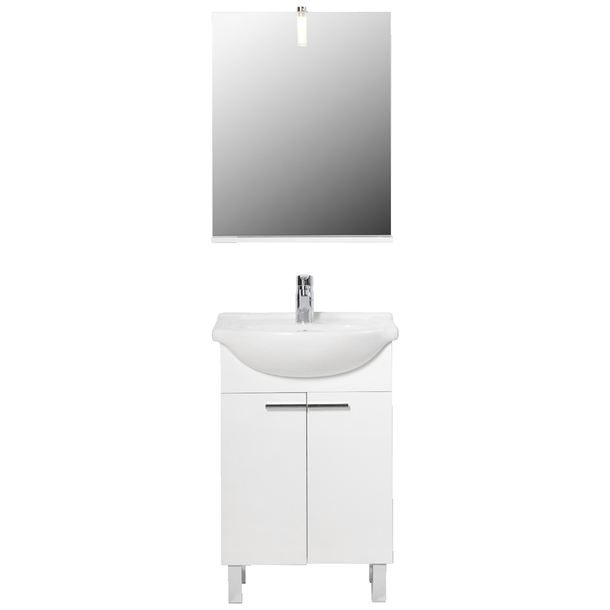 meuble de salle de bains amy 55 cm blanc brillant meubles salle de bain sanitaire chauffage. Black Bedroom Furniture Sets. Home Design Ideas