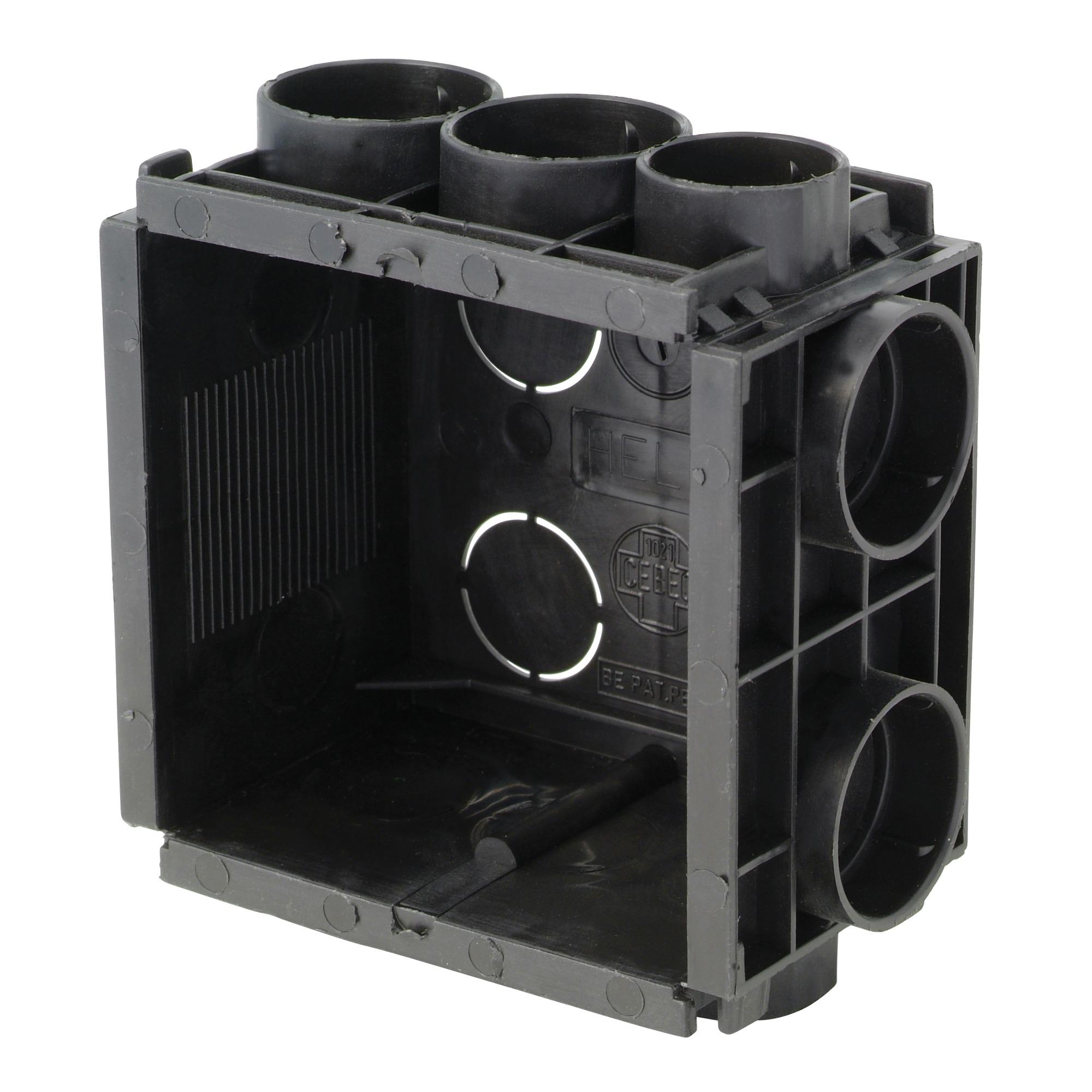 bo te d 39 encastrement helia 40mm noir 10 pi ces bo tiers d 39 encastrement installation. Black Bedroom Furniture Sets. Home Design Ideas